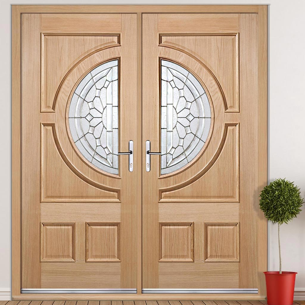 Empress External Oak Door Pair - Zinc Bevel Clear Tri Glazing