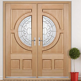 Image: Empress External Oak Door Pair - Zinc Bevel Clear Tri Glazing