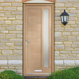 Image: Modena Oak Door - Frosted Double Glazing