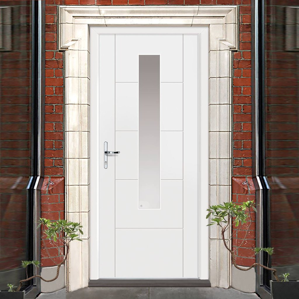 JBK Tigris Extreme Weather White Glazed Door - Clear Glass