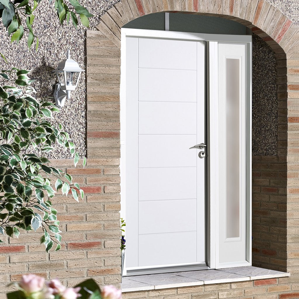 GRP White Modica Composite Door - Frosted Single Sidelight