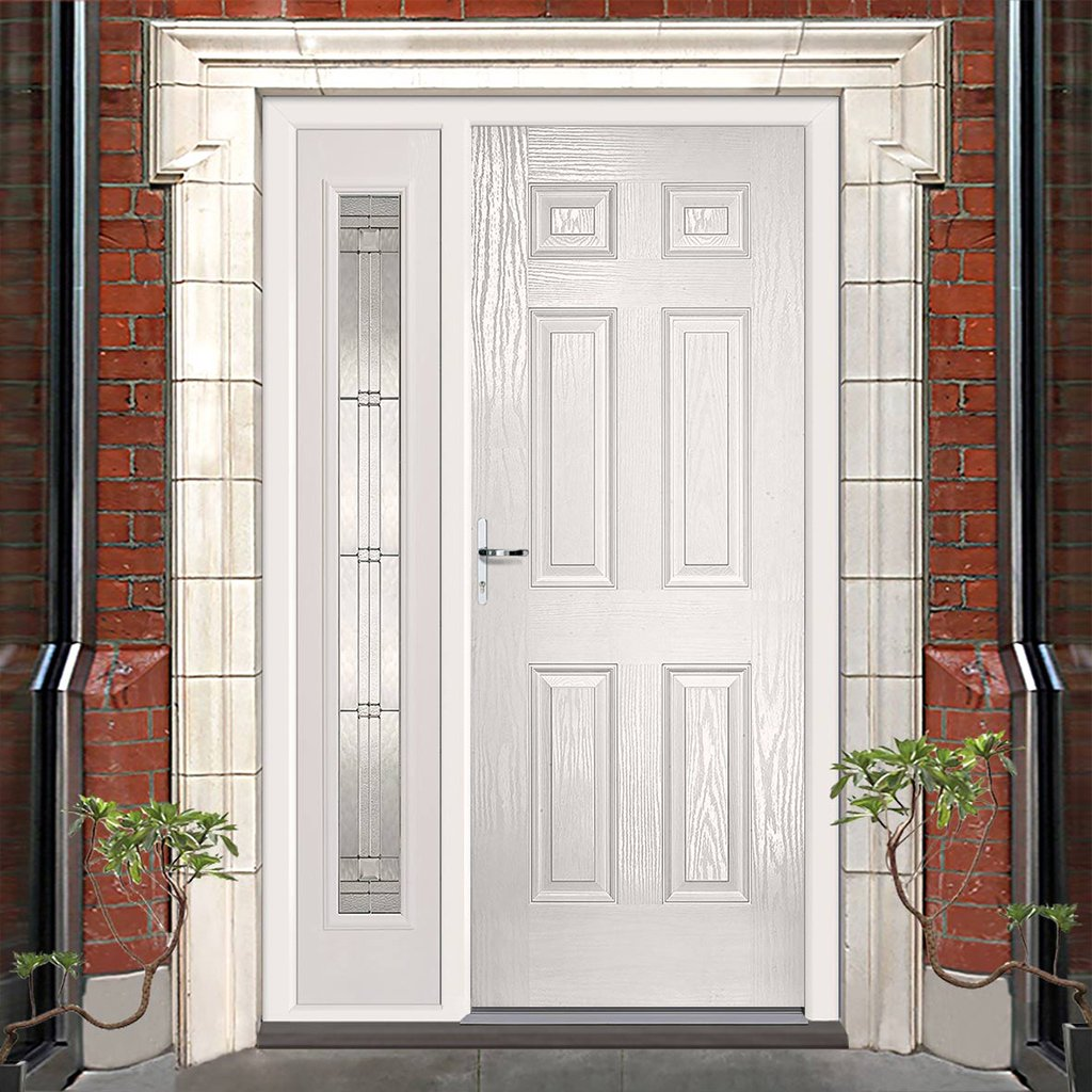 GRP White Colonial 6 Panel Composite Door - Leaded Single Sidelight
