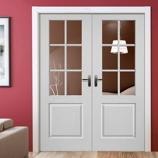Image: J B Kind Faro White Primed Door Pair - Clear Glass
