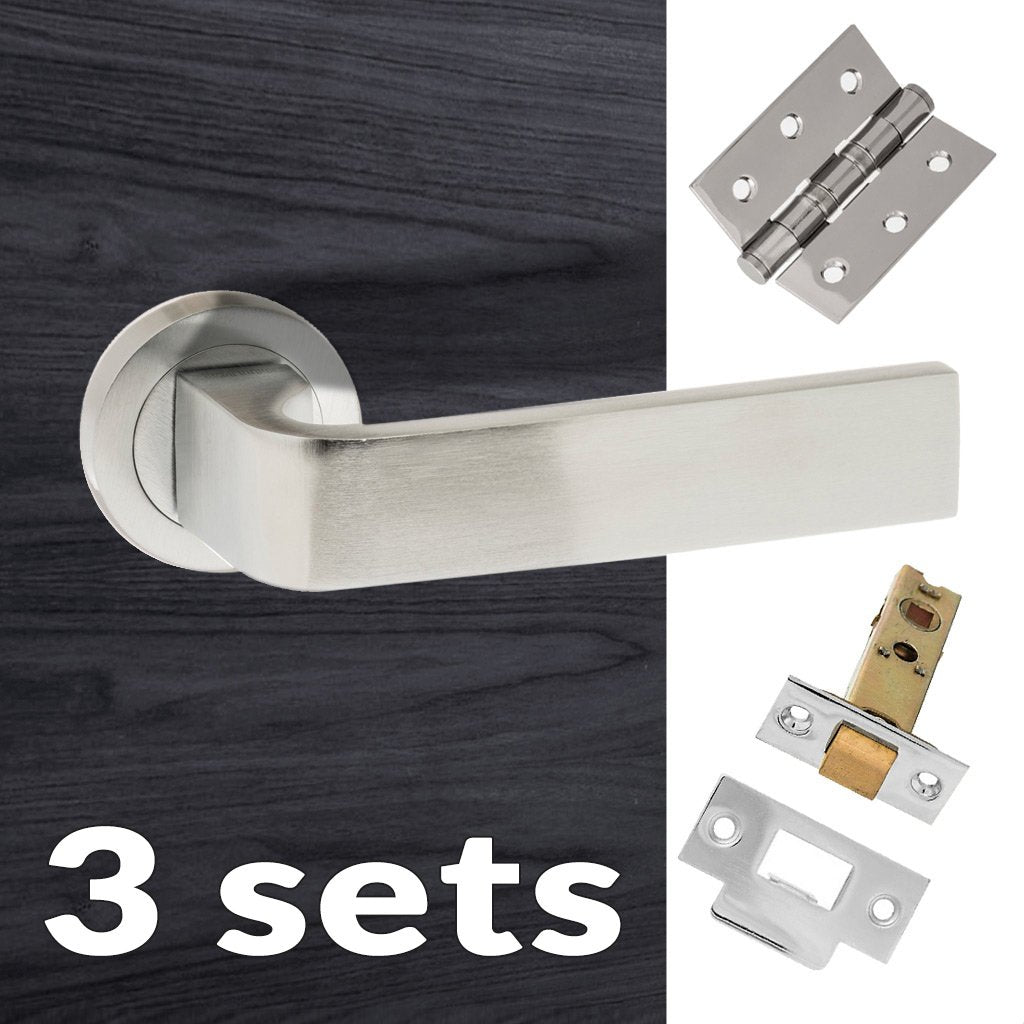 Three Pack Monza Forme Designer Lever on Minimal Square Rose - Satin Chrome Handle