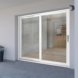 Image: Jeld-Wen Fenton White Painted Softwood Sliding Patio Doorset, FE24LE-R-FF, Right Hand Sliding, 2388mm Wide