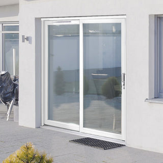 Image: Jeld-Wen Fenton White Painted Softwood Sliding Patio Doorset, FE16LE-R-FF, Right Hand Sliding, 1588mm Wide