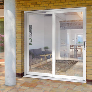 Image: Jeld-Wen Fenton White Painted Softwood Sliding Patio Doorset, FE21LE-R-FF, Right Hand Sliding, 2088mm Wide