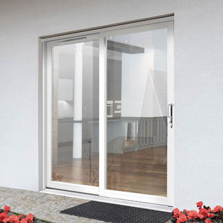 Image: Jeld-Wen Fenton White Painted Softwood Sliding Patio Doorset, FE18LE-R-FF, Right Hand Sliding, 1788mm Wide