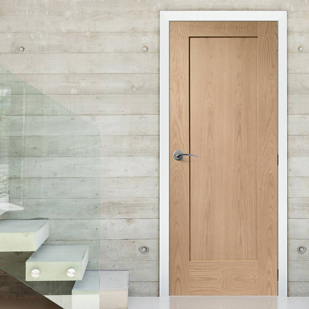 Door and Frame Kit - Pattern 10 Oak 1 Panel Door