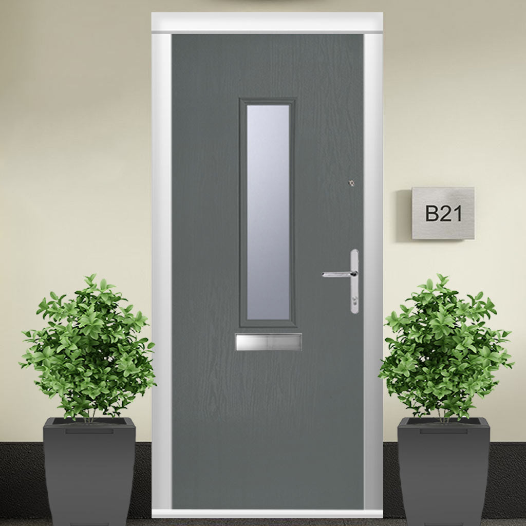 Composite Fire Door Set - Tortola 1 with Clear Glass - Shown in Mouse Grey