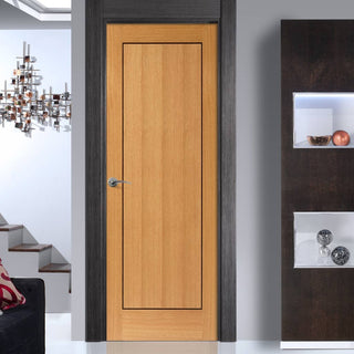 Image: J B Kind Oak Contemporary Clementine Fire Door - Walnut Inlay - 1/2 Hour Fire Rated - Prefinished