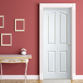 Image: Edwardian 4P Woodgrain Effect Door - White Primed - 1/2 Hour Fire Rated