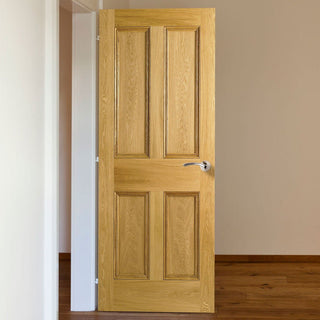 Image: 4 Panel Oak Fire Door - Raised Mouldings - 30 Minute Fire Rated