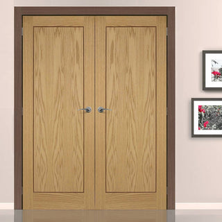 Image: Oak 1P Inlay Flush Fire Door Pair is Prefinished and 30 Minute Fire Rated