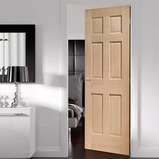Image: Fire Rated Colonial 6 Panel Oak Door - No Raised Mouldings