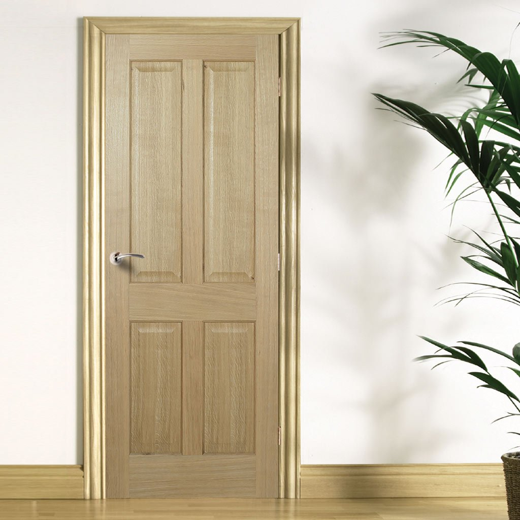 FD30 Fire Door, Regency 4 Panel Oak Door - No Raised Mouldings - 1/2 Hour Fire Rated - Prefinished