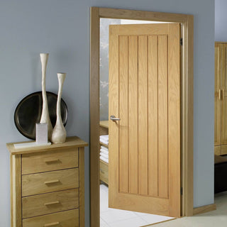 Image: Mexicano Oak Fire Door - Vertical Lining - 1/2 Hour Fire Rated