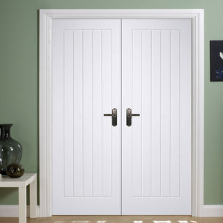 Image: Mexicano Fire Door Pair - 1/2 Hour Fire Rated - White Primed