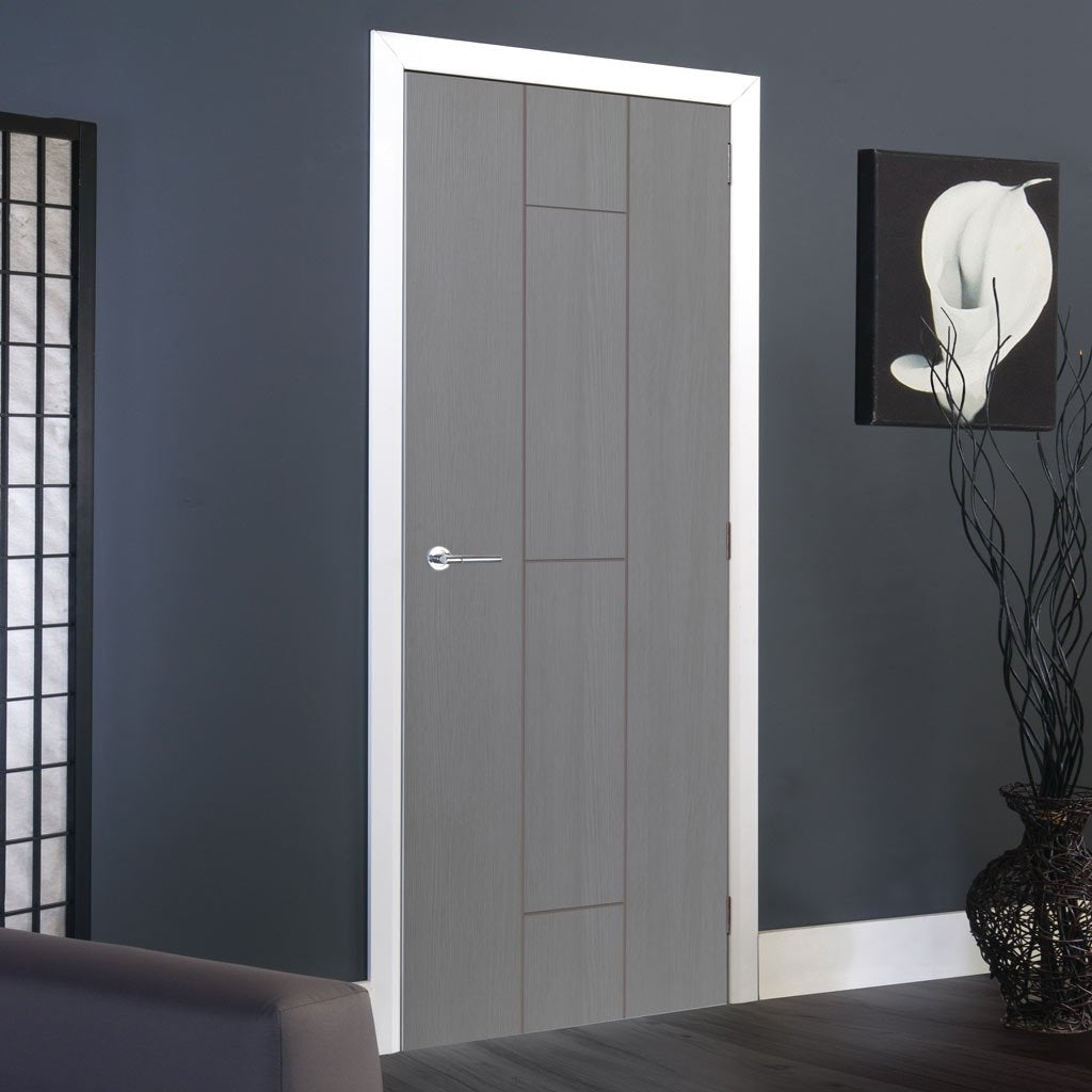 J B Kind Painted Ardosia Slate Grey Flush Fire Door - 1/2 Hour Fire Rated - Prefinished