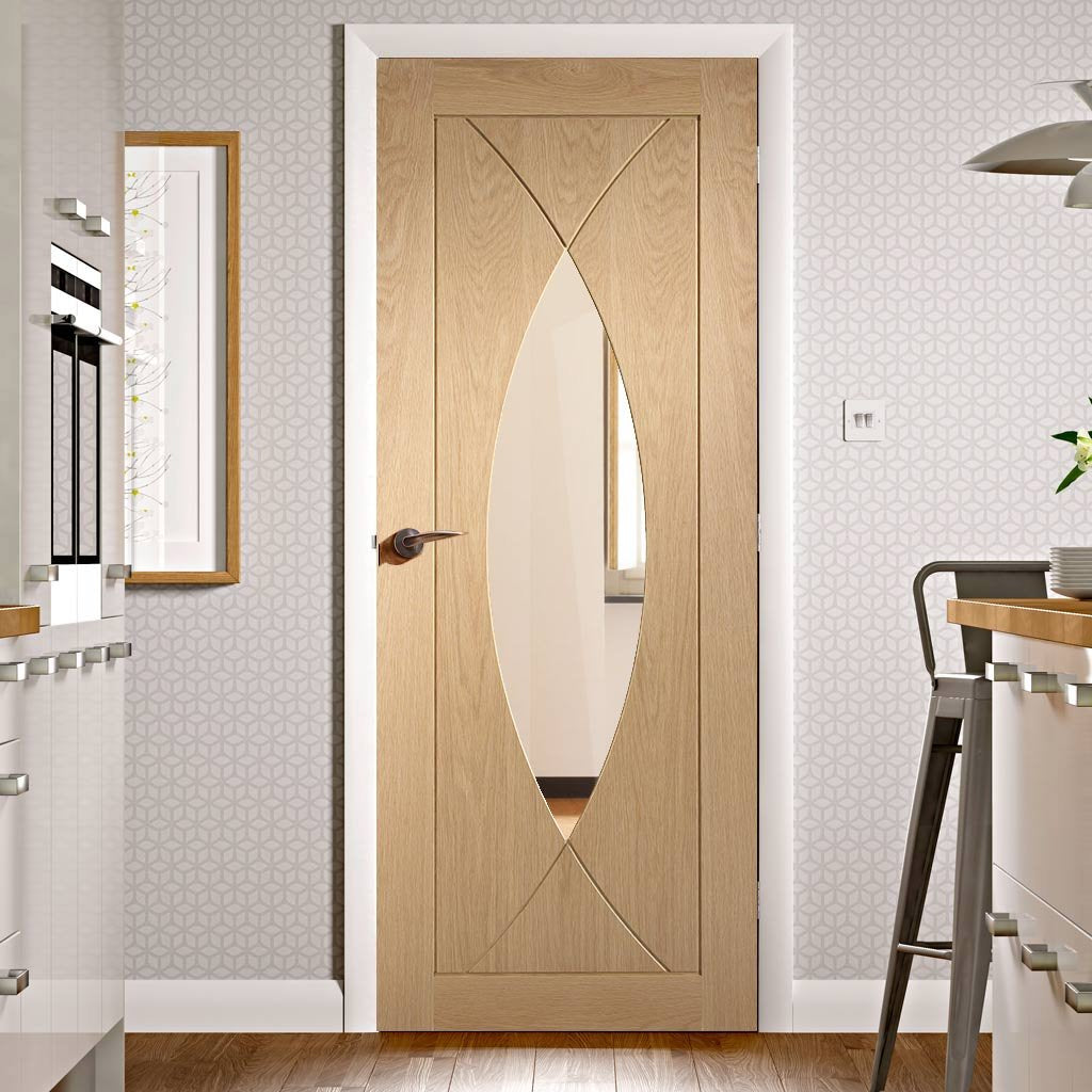Fire Rated Pesaro Oak Door - Clear Glass - 1/2 Hour Fire Rated