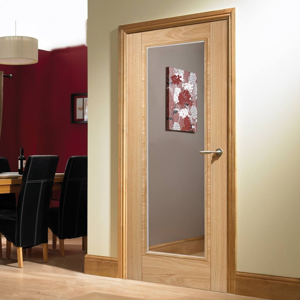 Vancouver Oak 1 Pane Fire Door - Clear Glass - 1/2 Hour Fire Rated - Prefinished