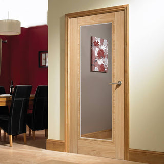 Image: Vancouver Oak 1 Pane Fire Door - Clear Glass - 1/2 Hour Fire Rated - Prefinished