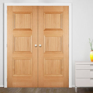 Image: Amsterdam 3 Panel Oak Door Pair - Prefinished