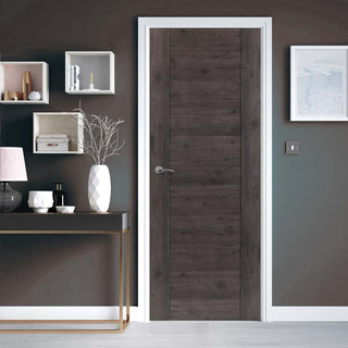 Image: J B Kind Laminates Alabama Cinza Dark Grey Coloured Fire Door - 1/2 Hour Fire Rated - Prefinished