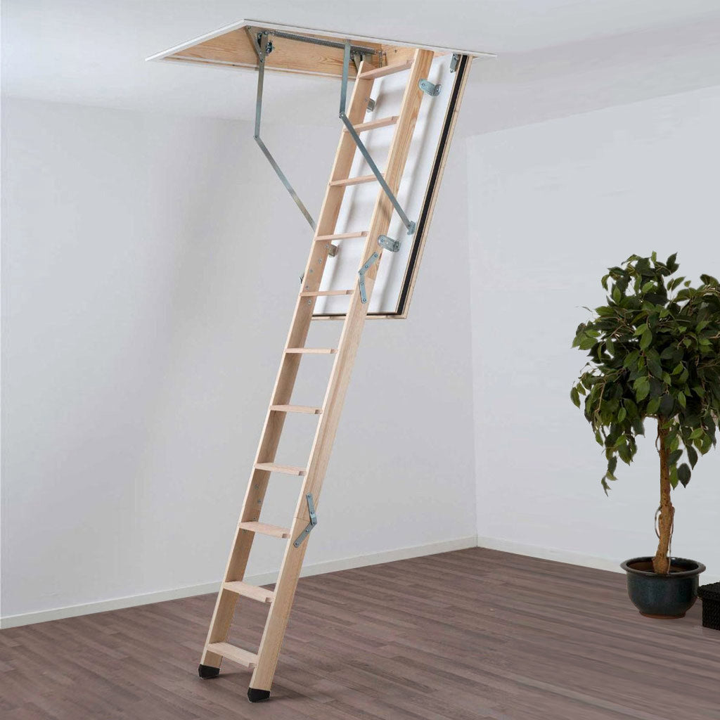 Dolle Wooden Loft Ladder - REI Fire Rated 1200 x 700mm - Insulated Door, Max Ceiling Height 2810mm