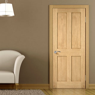 Image: Oak Fire Door, London 4 Panel - 1/2 Hour Fire Rated