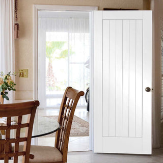 Image: Fire Proof Suffolk Fire Door - 1/2 Hour Fire Rated - White Primed