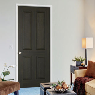 Image: Regency 4 Panel Smoked Oak door - 30 Minute Fire Rated - Prefinished