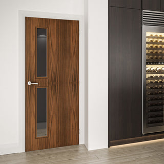 Image: Bespoke Fire Door - Flush American Black Walnut Veneer - 30 Minute Fire Rated - Clear Glass - 07 - Prefinished