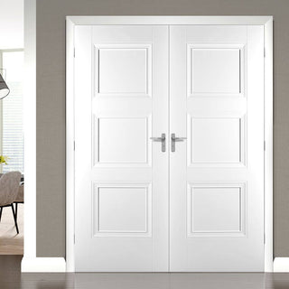 Image: Amsterdam 3 Panel Door Pair - White Primed