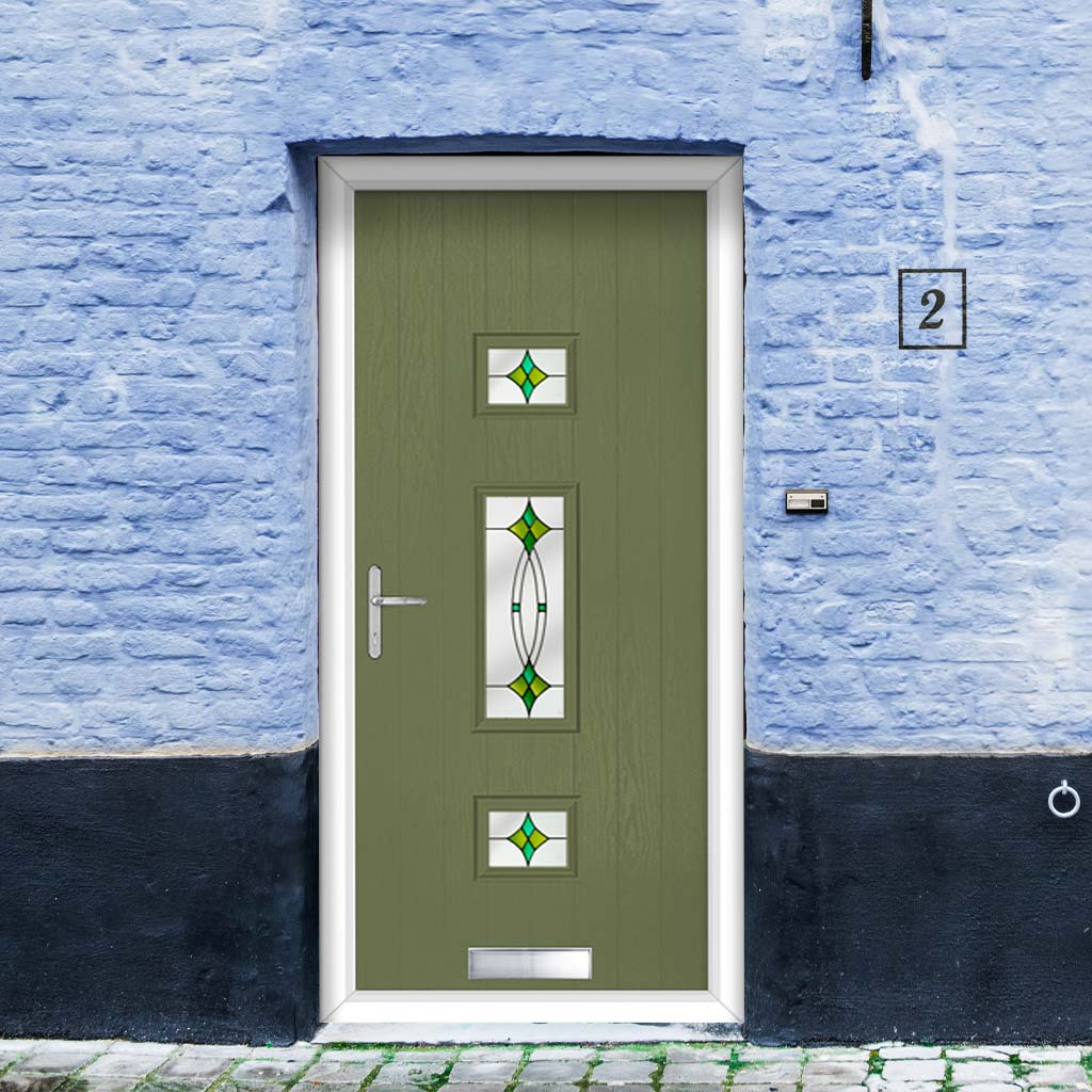 Cottage Style Firenza 3 Composite Door Set with Hnd Laptev Green Glass - Shown in Reed Green