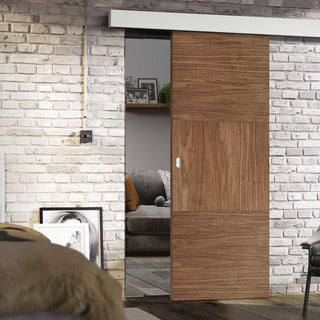 Image: Single Sliding Door & Wall Track - Tres Walnut Flush Door - Prefinished