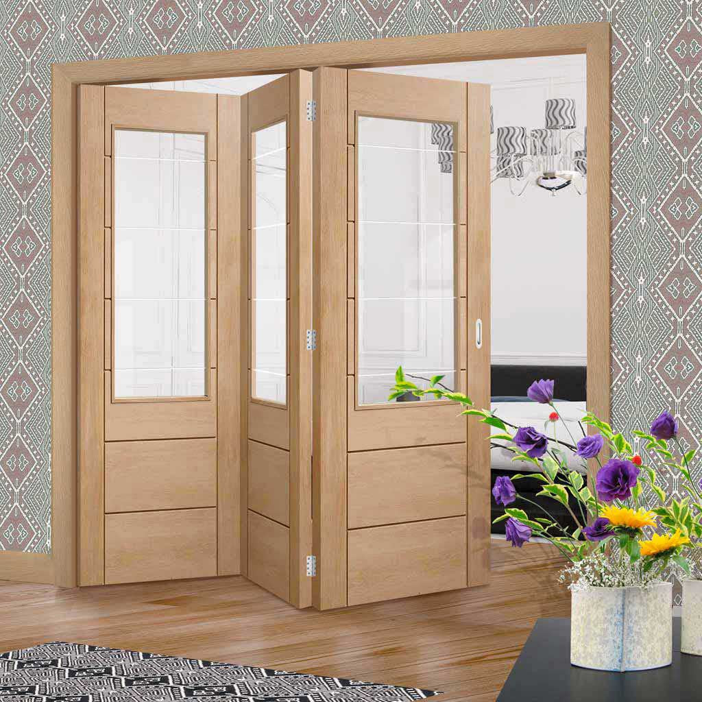 Three Folding Doors & Frame Kit - Palermo Oak 2XG 3+0 - Clear Etched Glass- Unfinished
