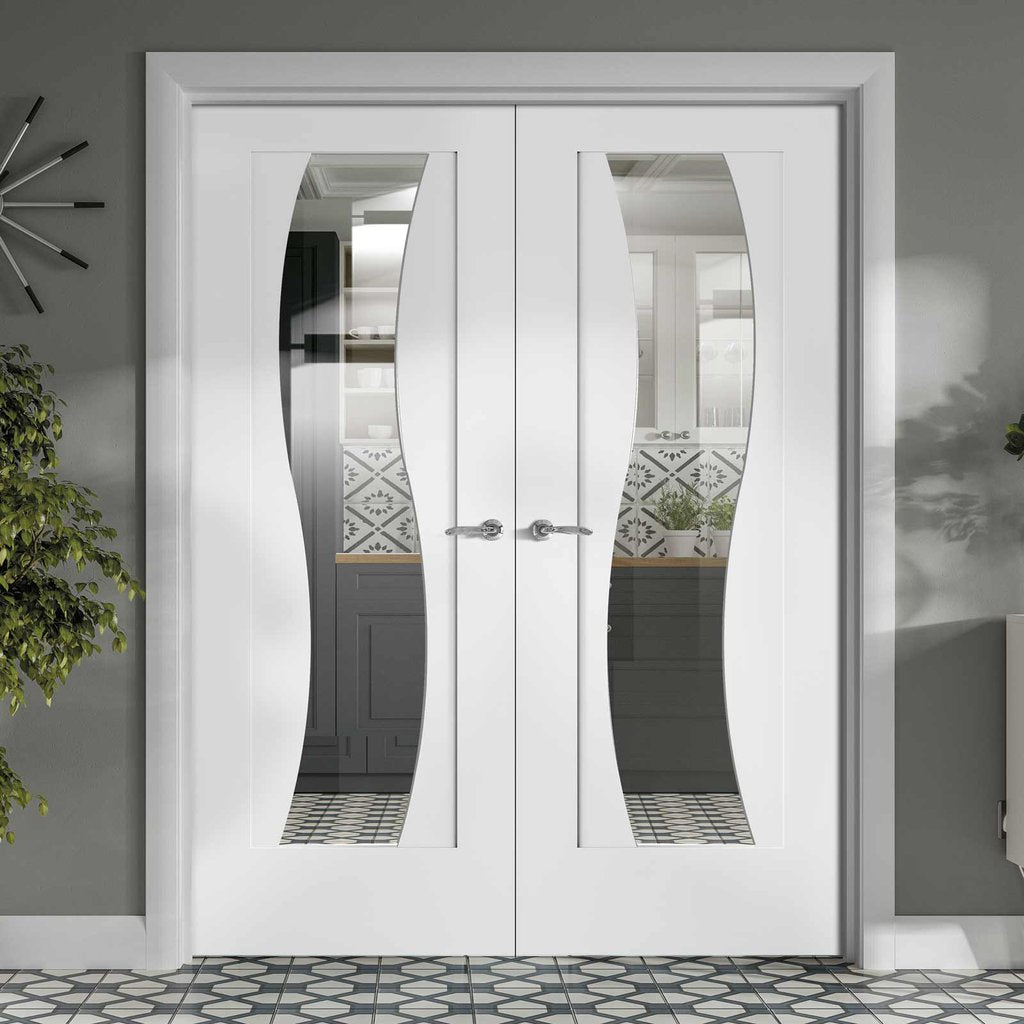 Florence White Door Pair - Clear Glass - Stepped Panel Design - Prefinished