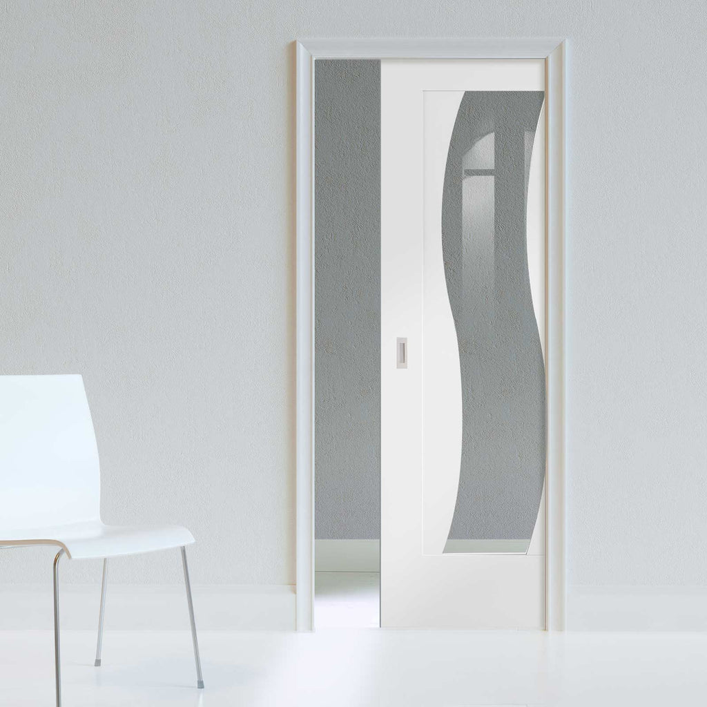 Florence White Single Evokit Pocket Door - Clear Glass and Stepped Panel Design - Prefinished