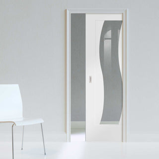 Image: Florence White Single Evokit Pocket Door - Clear Glass and Stepped Panel Design - Prefinished