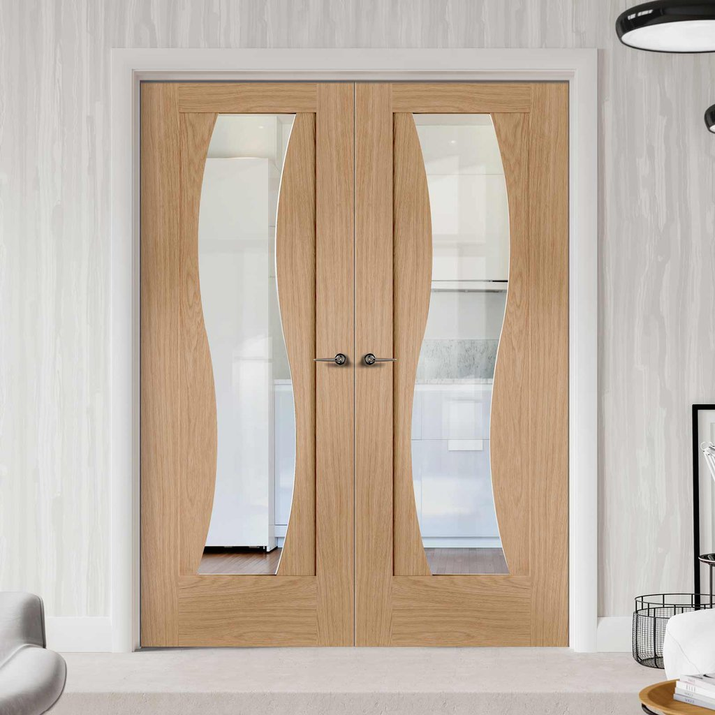 Florence Oak Door Pair - Clear Glass - Stepped Panel Design - Prefinished