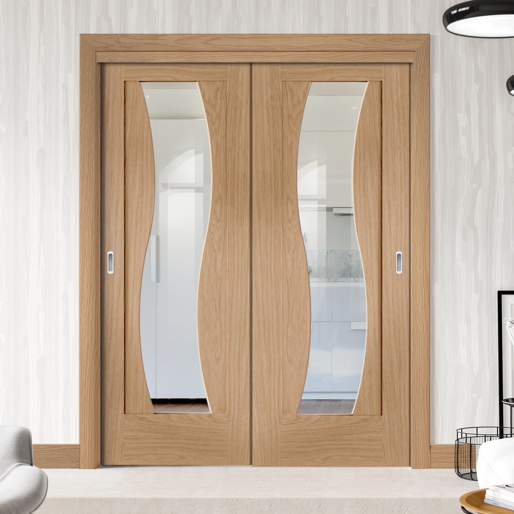 Two Sliding Doors and Frame Kit - Florence Oak Door - Stepped Panel Design  - Clear Glass - Prefinished