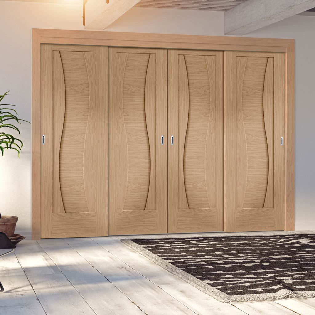 Four Sliding Doors and Frame Kit - Florence Oak Flush Door - Stepped Panel Design - Prefinished