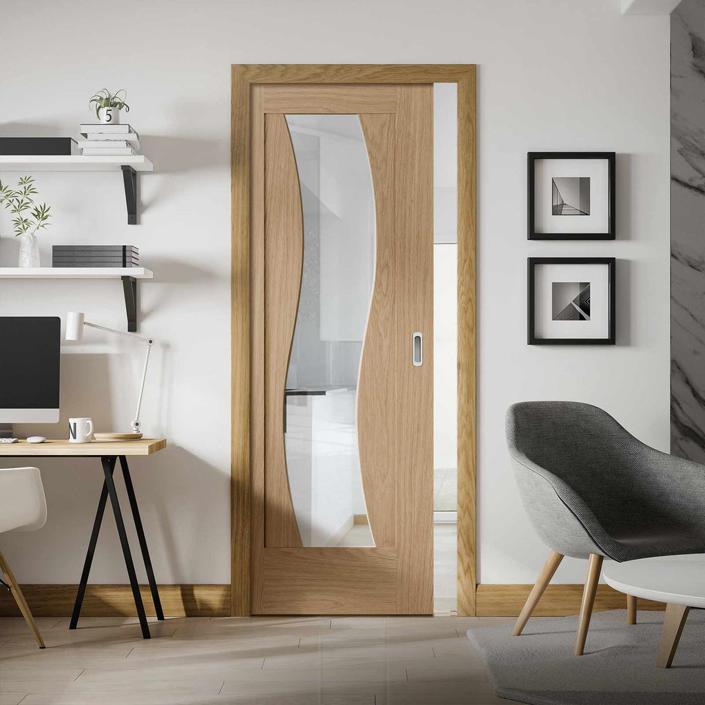 Florence Oak Single Evokit Pocket Door - Clear Glass and Stepped Panel Design - Prefinished