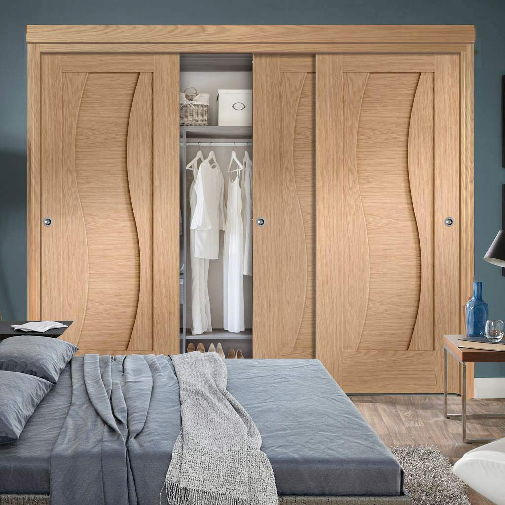 Three Sliding Wardrobe Doors & Frame Kit - Florence Oak Flush Door - Stepped Panel Design - Prefinished