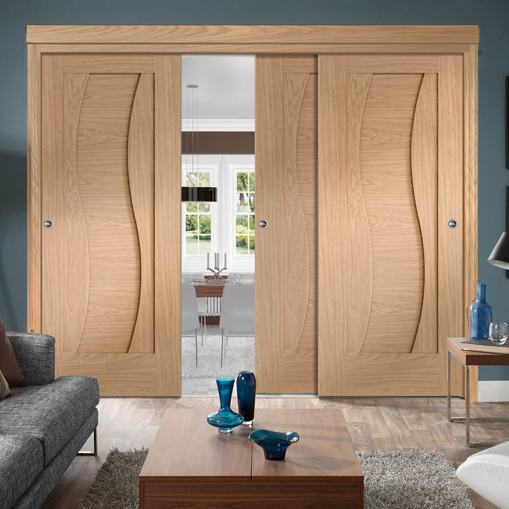 Three Sliding Doors and Frame Kit - Florence Oak Flush Door - Stepped Panel Design - Prefinished