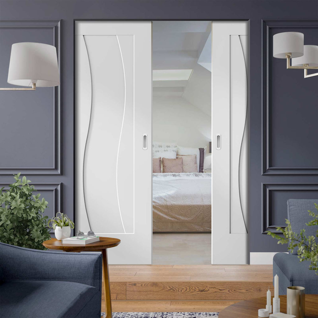 Florence White Flush Absolute Evokit Double Pocket Door - Stepped Panel Design - Prefinished