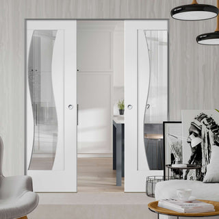 Image: Florence White Absolute Evokit Double Pocket Door - Clear Glass and Stepped Panel Design - Prefinished