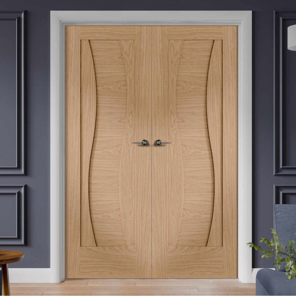 Florence Oak Flush Door Pair - Stepped Panel Design - Prefinished