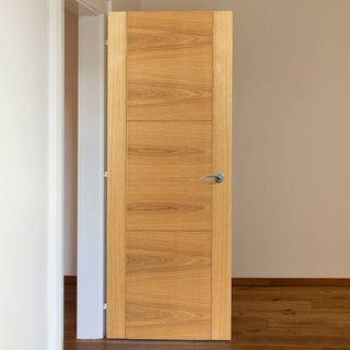 Image: J B Kind Oak Contemporary Mistral Flush Fire Door - Decorative Grooves - 30 Minute Fire Rated - Prefinished